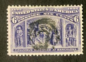 US 235 MNH F/VF USED $22.50 BIN $7.00 COLUMBUS WELCOMED AT BARCELONA