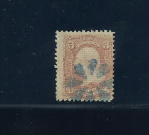 Scott #83 Washington C-Grill Used Stamp (Stock #83-1)