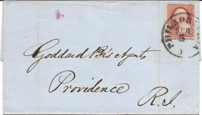 US#25 Rose - Type I - On 1857 Cover to Goddard Br's(Brothers) Agents