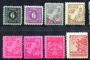 GR Lot 10558 Mecklenburg - Soviet Zone Michel 8x 9a 13 15 36x 11y 11x 18 II as p