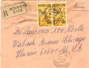 Chad 60F First Anniversary Independence (2) 1964 Moundou, Tchad Airmail Regis...