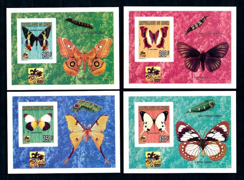 [76550] Niger 1996 World Jamboree Scouting Butterflies 4 Imperf. Sheets MNH