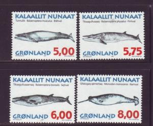Greenland Sc 319-22 1997 Whales stamp set mint NH