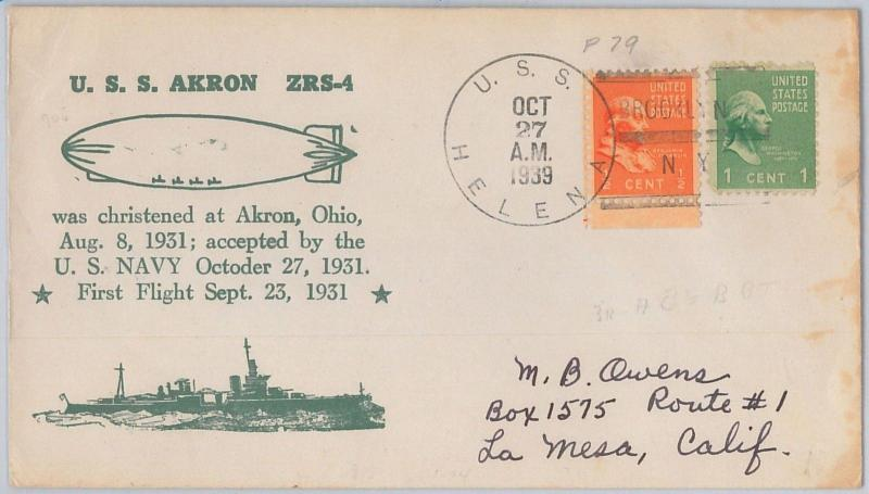 52465 -  UNITED  STATES -  POSTAL HISTORY: COVER from U.S.S. HELENA 1939 - SHIP