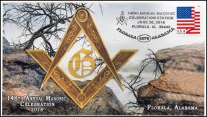 18-296, 2018, Masonic Celebration,, Pictorial, Postmark, Florala AL, Event Cover