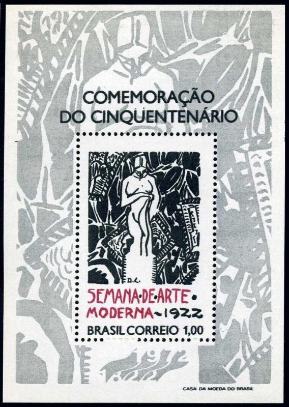 Brazil 1222,MNH.Michel 1316 Bl.29. Modern Art Week,50th Ann.1972.Poster