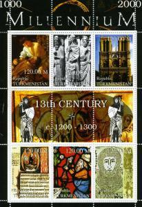 Turkmenistan 1999 MILLENNIUM 13th.Century Sheet + Label Perforated Mint (NH)
