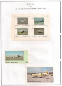 SCOTLAND - STAFFA - 1981 -Light Aircraft - Perf 4v, Souv, D/L Sheets - M L H