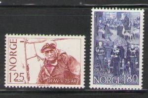 Norway Sc 731-2 1978 Olav V 75 yrs stamps mint NH