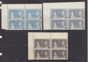 ADEN, 1937 Coronation set of 4, corner blocks of 4, mnh., lhm. in margins.