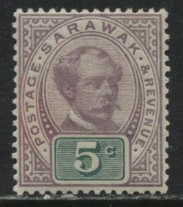Sarawak 1891 5 cents mint o.g.