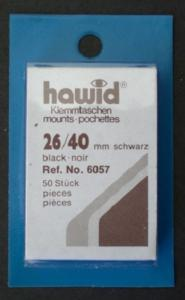 Hawid Stamp Mounts Size 26 / 40 mm BLACK  (Pack of 50) ( 26x40 )