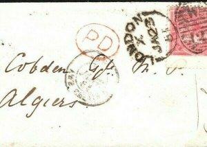 GB Cover France Colonies ALGERIA Addressed to Richard Cobden 1855 {samwells}D176