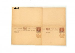 East India NABHA STATE Overprint QV Reply Postcards Matched Pair{2}{samwells}MM5