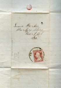 #25A FOLDED LETTER 12/18/1857 POS 80L2L CV $775 BM7789