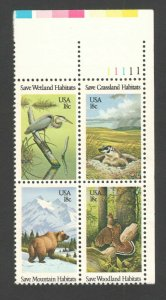 1921-4 (1924a) Wildlife Habitats Plate Block Mint/nh (Free Shipping)