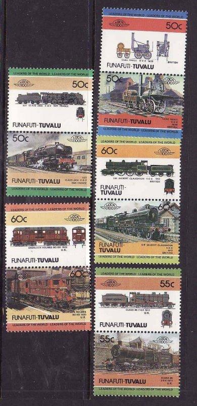 Tuvalu-Funafuti-Sc#17-20- id5-unused NH Trains-Locomotives-1984-86-