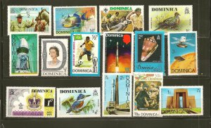 Dominica Lot of 15 Different 1970's Stamps MNH