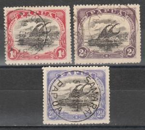 PAPUA 1910 LAKATOI LARGE PAPUA 1D TO 21/2D USED WMK UPRIGHT PERF 12.5
