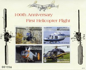 Micronesia 2007 MNH First Helicopter Flight 4v M/S Helicopters Aviation Stamps