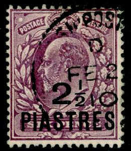 BRITISH LEVANT SG24, 2½pi on 6d dull purple, FINE USED, CDS.