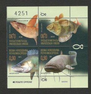 BOSNIA SERBIA-MNH** BLOCK OF 4 STAMPS - FAUNA - FISH -2019.