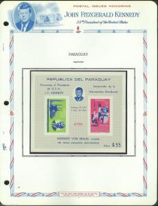 PARAGUAY   MEMORIAL TRIBUTE PRESIDENT  JOHN F. KENNEDY SPACE SET S/S IMPERFORATE
