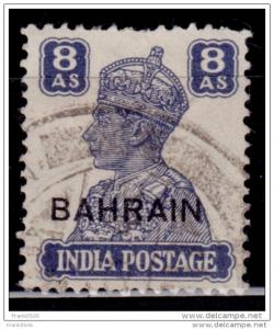 Bahrain 1942-1944, India Stamps Overprinted, 8a, used, sc#50