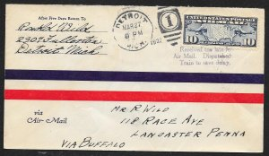 UNITED STATES First Flight Cover 1927 Detroit to Lancaster Delayed sent by train