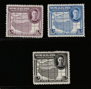 Somaliland Protectorate x 3 MH KGVI high values from 1938