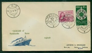 NORWAY 1950, D/S FAEMUND II Crown & Posthorn cancels (3) on ship cover to U.S.