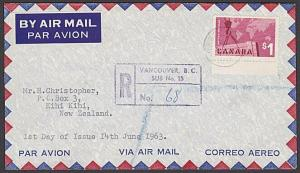 CANADA 1963 $1 Exports - on plain registered FDC to New Zealand............27547