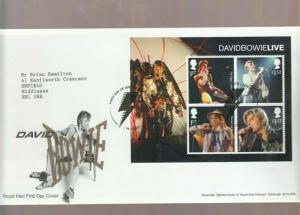 2017 DAVID BOWIE LIVE BOOKLET PANE FDC. DECORATIVE LONDON CANCEL