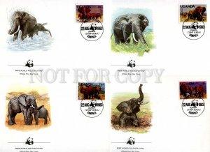 239843 UGANDA WWF elephants 1983 year set of 4 FDC