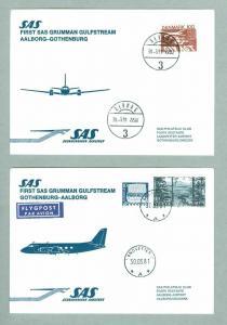 Denmark. Sweden. 2 First Flight Cover 1981. SAS Guflstream. Aalborg - Gothenburg