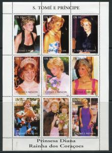 SAO TOME PRINCESS DIANA DRESSES SHEET OF NINE MINT  NEVER HINGED
