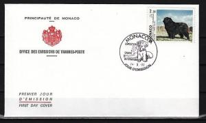 Monaco, Scott cat. 1855. Dogs Show issue. Newfoundland. First day cover.