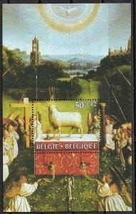 1986 Belgium B1051 Adoration of the Mystic Lamb, St. Bavon Cathedral MNH S/S