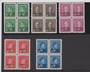 CANADA #O12-O15A MNH STAMPS IN BLOCKS(4)OVERPRINT OHMS  LOT#11