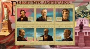 Guinea - USA Presidents - 6 Stamp  Sheet 7B-1358