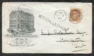 p743 - HAMILTON 1883 ILLUSTRATED Advertising Cover. NOT-CALLED-FOR