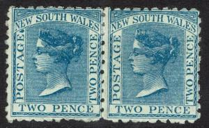 NEW SOUTH WALES 1882 QV 2D PAIR WMK CROWN/NSW SG W40 PERF 10