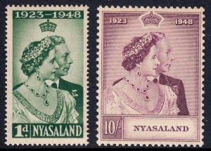 Nyasaland - Scott #85-86 - MNH - Gum toning - SCV $19.25