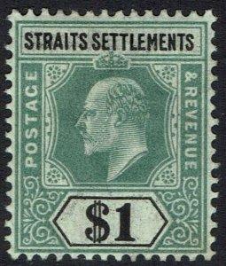 STRAITS SETTLEMENTS 1902 KEVII $1 WMK CROWN CA