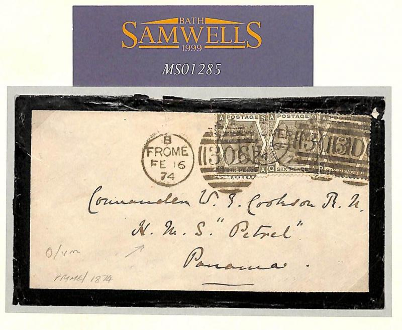 MS1285 GB NAVAL MAIL 1874 Frome Som Cover *HMS Petrel* PANAMA SG.125 cat £750+