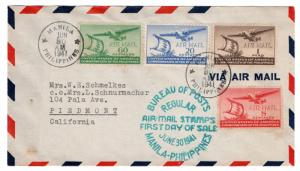 (I.B-CK) Philippines Postal : US Air Mail FDC (Manila 1941)