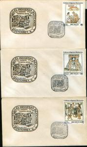 MEXICO 1290-1292 FDC Florentine Codex Illustrations Set of 3