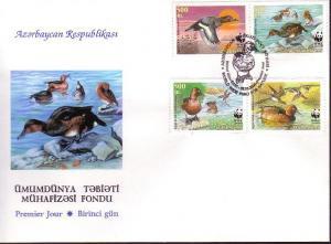 Azerbaijan Birds WWF Ferruginous Duck FDC SG#480-483 SC#704 a-d MI#474-477