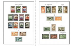 COLOR PRINTED SPANISH SAHARA 1924-1975 STAMP ALBUM PAGES (31 illustrated pages)