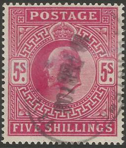 GB KEVII 5s Carmine Fine Used Stamp Cat Val £220